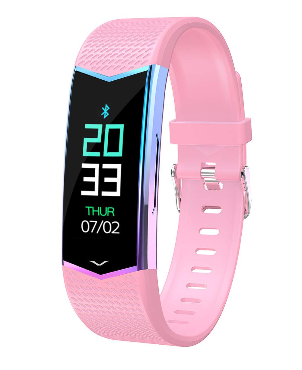 Smart Bracelet with Sleep Monitoring Pedometer Calorie Counter, Waterproof Smart Bracelet for Android iOS-Pink by YANGYA