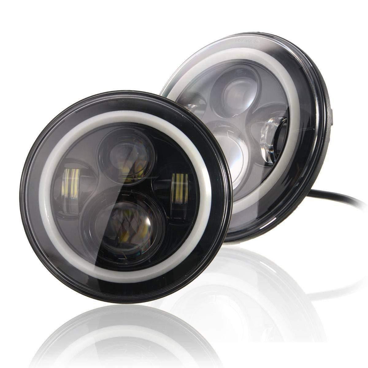 2PCS 4 INCH Led luces de niebla para JEEP Wrangler JK TJ LJ CJ UNI 2PCS Negro 7inch LED de la bombilla del faro blanco faros Alto bajo haz auto headlight