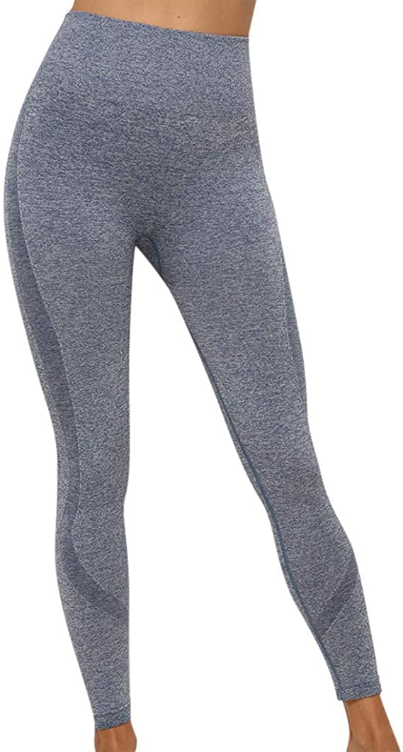 kemilove Women Striped Skinny Yoga Pants Fitness Sports Gym Mid Waist Athletic Pants