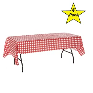 Oojami Pack of 4 Plastic Red and White Checkered Tablecloths - 4 Pack - Picnic Table Covers