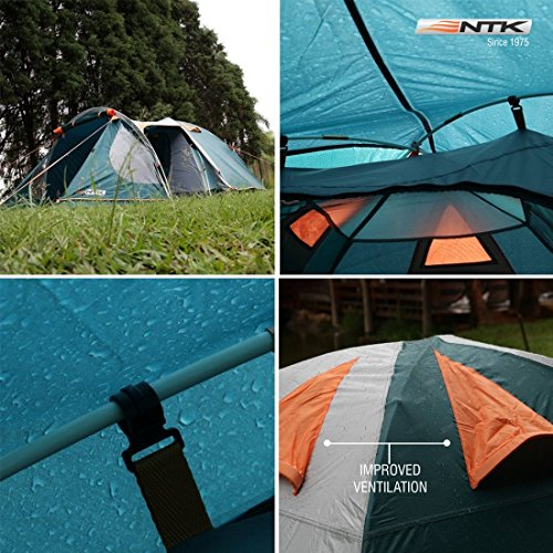 NTK INDY GT 4 to 5 Person 12.2 by 8 Foot Outdoor Dome Family Camping Tent 100% Waterproof 2500mm, European Design, Easy Assembly, Durable Fabric Full Coverage Rainfly - Micro Mosquito Mesh. by NTK (Image #6)