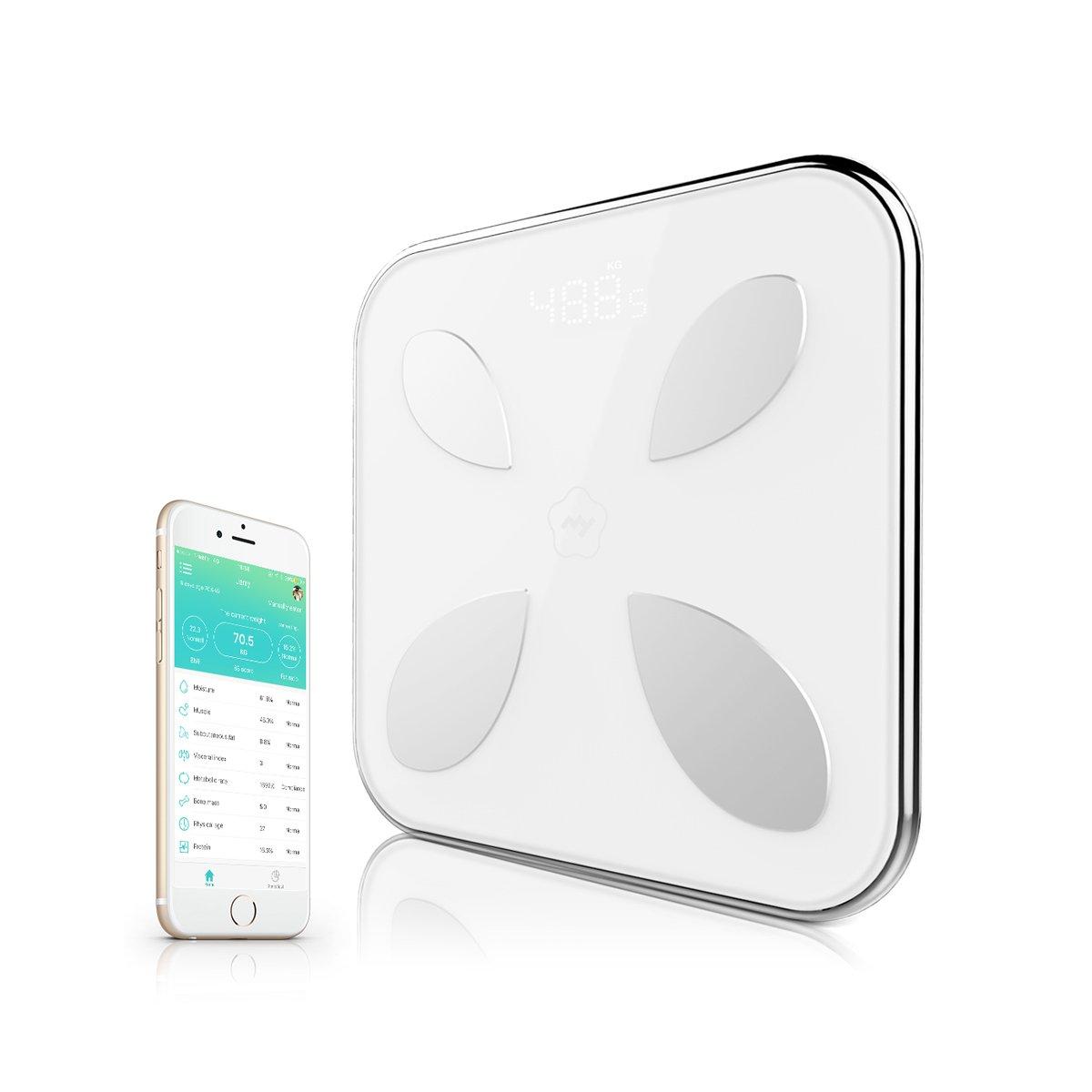 Adesugata Bluetooth Smart grasa corporal escala con App para IOS Android dispositivos, Digital analizador de grasa corporal báscula de baño peso datos ...