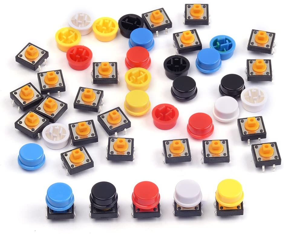 WGCD 72 PCS Momentary Tactile Tact Push Button Micro Switch 6x6x9mm 7 Color Cap for Arduino