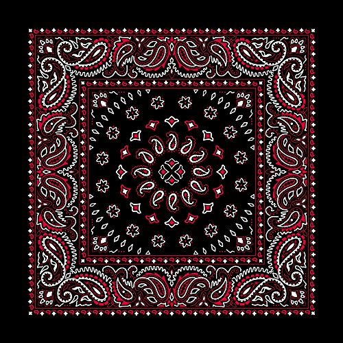 """(Large 100% Cotton Square Burst Paisley Bandanas (22"""" x 22"""") - Black with Red Single Piece 22x22 - Use For Handkerchief, Headband, Cowboy Party, Wristband, Head Scarf - Double Sided)"""