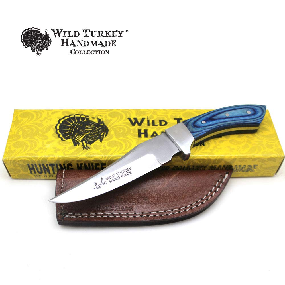 Wild Turkey Handmade Collection Full Tang Fixed Blade Real Bone Handle Skinner Knife w Leather Sheath