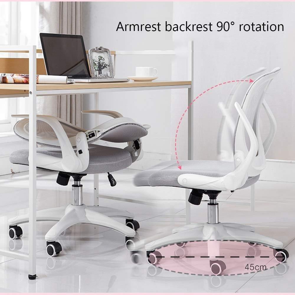 Xiuyun kontorsstol spelstol, andningsbar mesh baksida 30 ° justerbar svängbar stol datorstol för kontor konferensrum personal lärande träningsstol (färg: Gul) Rosa