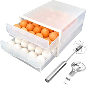 SQUAREBOX Egg Storage Drawer Container for Refrigerator – Includes Premium Egg Drawer with Egg White Separator and Semi-Automatic Egg Whisk – Durable Sturdy Compact and Space-Saving Egg Storage Box