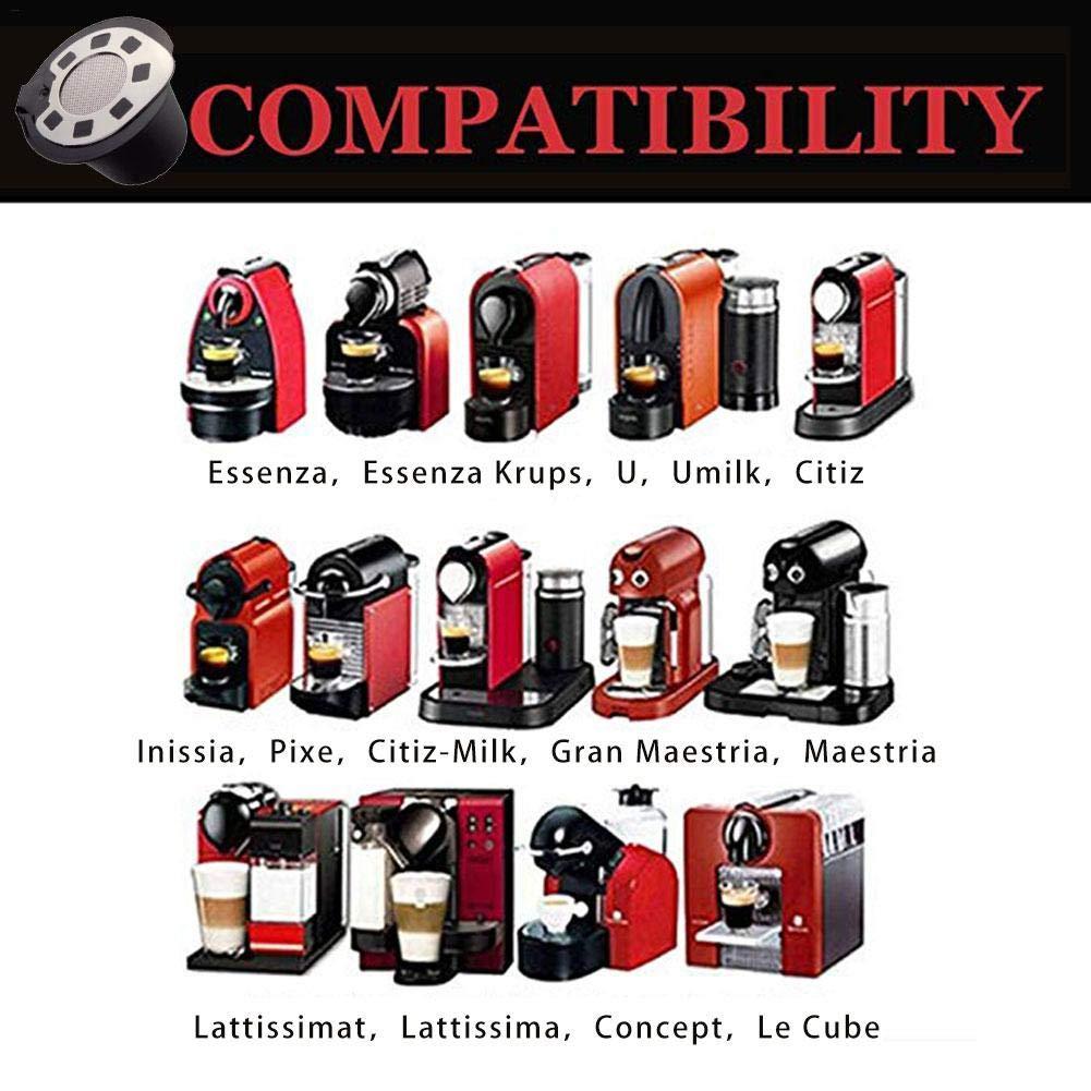 5 Unidades Dough.Q - C/ápsula Reutilizable para los Amantes del caf/é C/ápsulas de caf/é rellenables de Acero Inoxidable para Rellenar Compatible con Nespresso y Soporte para c/ápsulas