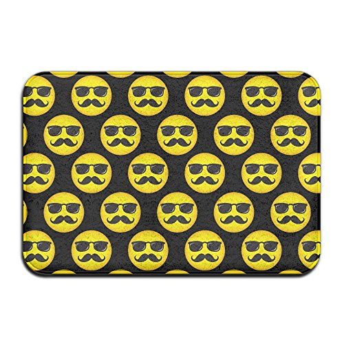 Soft Non-slip Smily Face With Mustache And Sunglasses Bath Mat Coral Fleece Area Rug Door Mat Entrance Rug Floor - Sunglasses Download