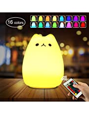Luce Notturna LED , otumixx silicone Luci notturne per bambini 16 Colore diverso Toccare controllo Con telecomando USB ricarica Lampada per i Bambini Per decorazioni camerette letto bambini
