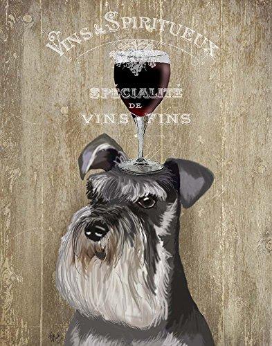 Dog Au Vin, Schnauzer by Fab Funky Art Print, 14 x 17 inches