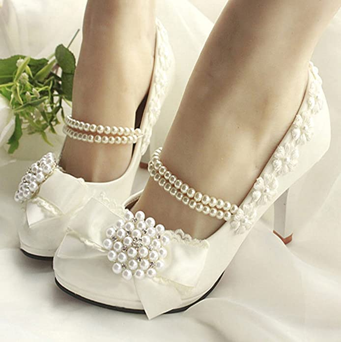 Getmorebeauty Women's With Pearls Across Ankle Top High Heel Wedding Shoes:  Amazon.co.uk: Shoes & Bags