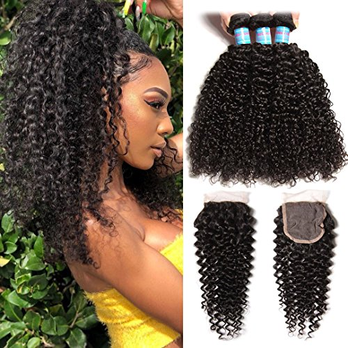 Donmily 10A Brazilian Curly Hair with Closure 3 Bundles Curly Hair Weft with Free Part Lace Closure 100% Unprocessed Virgin Human Hair Extensions Natural Color (16 18 20+14 Inch)