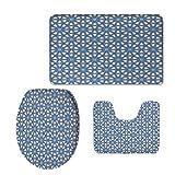 iPrint Fashion 3D Baseball Printed,Arabian,Traditional Moorish Turkish Tangled Pattern and Geometric Lines Mosque Islamic Art,Blue White,U-Shaped Toilet Mat+Area Rug+Toilet Lid Covers 3PCS/Set