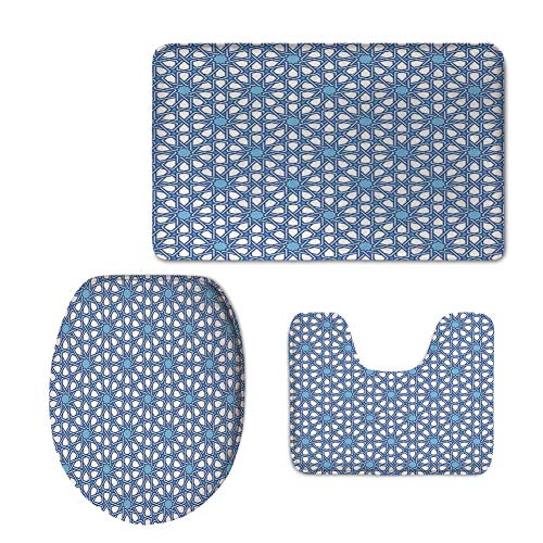 iPrint Fashion 3D Baseball Printed,Arabian,Traditional Moorish Turkish Tangled Pattern and Geometric Lines Mosque Islamic Art,Blue White,U-Shaped Toilet Mat+Area Rug+Toilet Lid Covers 3PCS/Set by iPrint