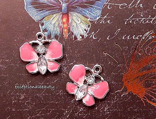 2 Silver Pink 16mm Butterfly Bead Drop Charms Swarovski Elements Rhinestones