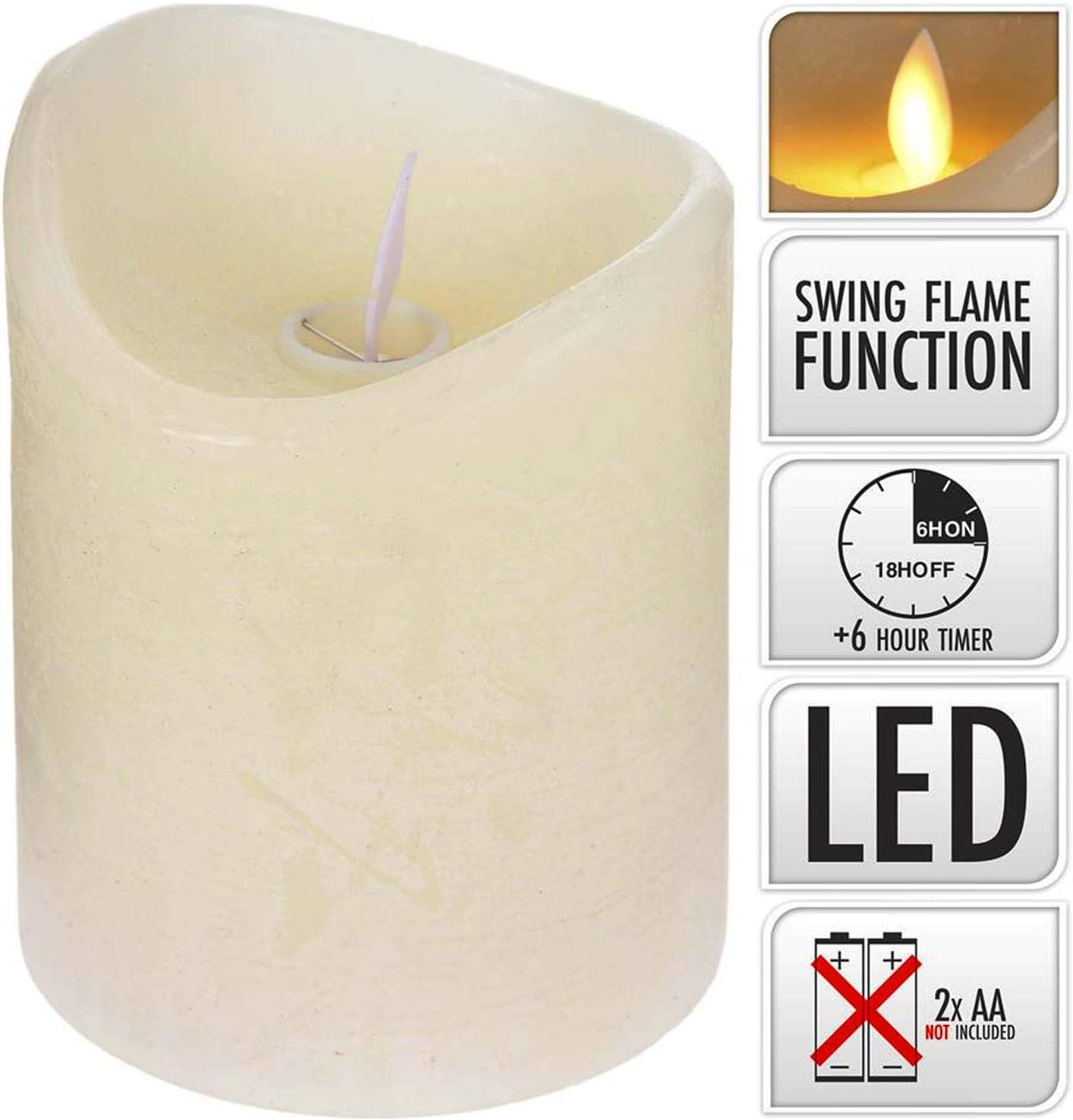 /Ø 7,5x10 cm beweglicher Flamme Creme ToCi LED Echtwachs Kerze mit Timer und flammenloser