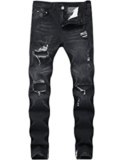 TheMogan Mens Vintage Washed Denim Dropstrick Drop Crotch Paint Splatter Jeans