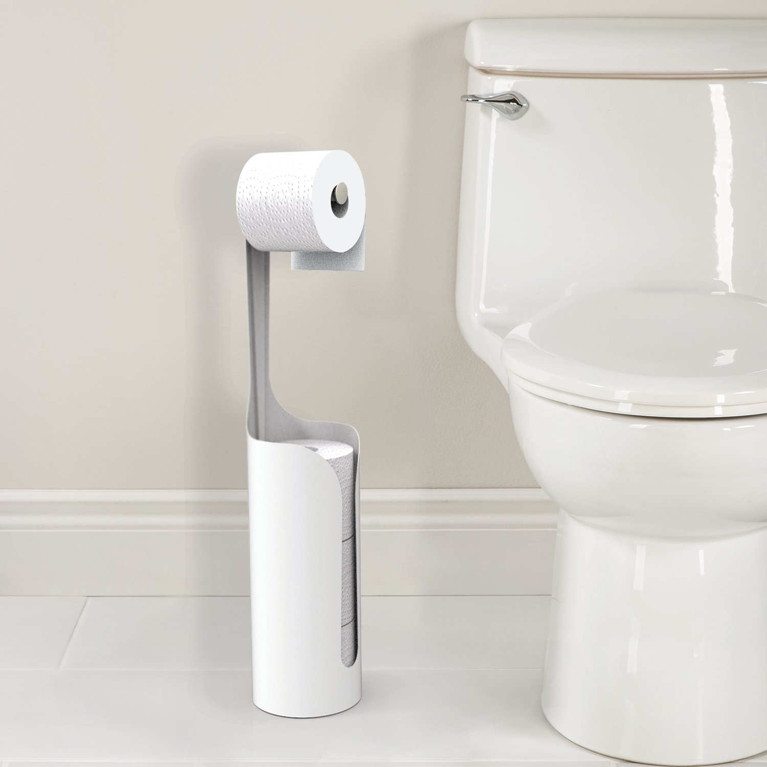 Better Living Products 53555 Yin Extra Toilet Paper Holder, White