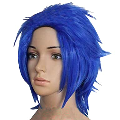 Halloween Manner Levy Mcgarden Perucke Wig Kurz Blau Anime Cosplay Kostum Haar Zubehor