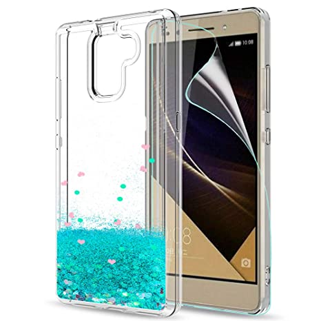 LeYi Hülle Huawei Honor 7 Glitzer Handyhülle mit HD Folie Schutzfolie,Cover TPU Bumper Silikon Flüssigkeit Treibsand Clear Sc