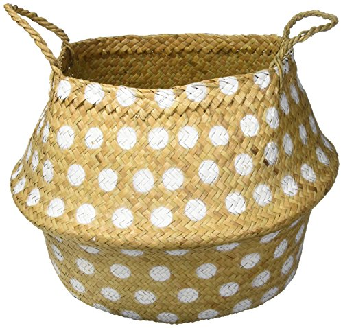 Bloomingville Seagrass Basket with Handles and Dots Décor