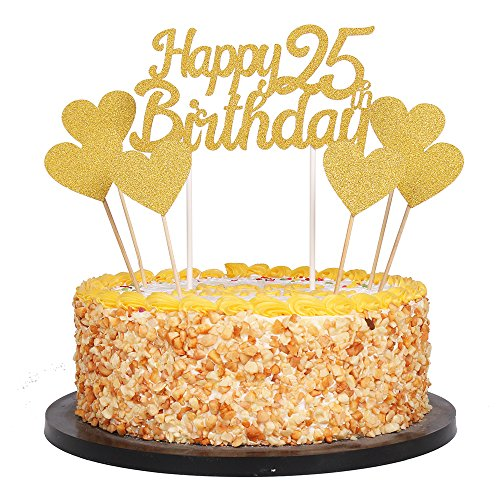 QIYNAO Gold Glittery Happy Birthday Cake Toppers and Love Star Cake Smash Birthday Party Decorations, Candle Alternative Set of 7 (25th)]()