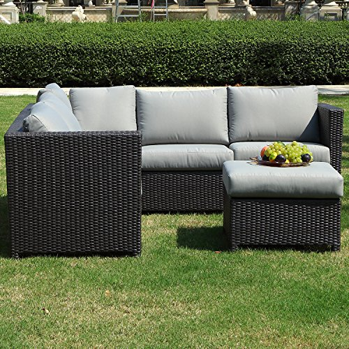 Outdoor Patio Furniture Sale Amazon: SeCortile 3PC Patio Sectional Rattan Sofa Set Outdoor
