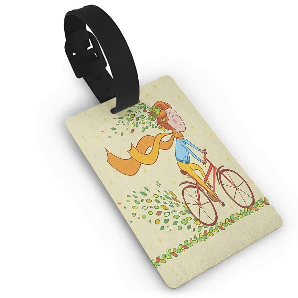 Creative boarding pass Bicycle,Romantic Doodle Drawing with Pink Blossoms Fun Activity Youth Dark Brown Pink Pale Yellow One Size Address Tags