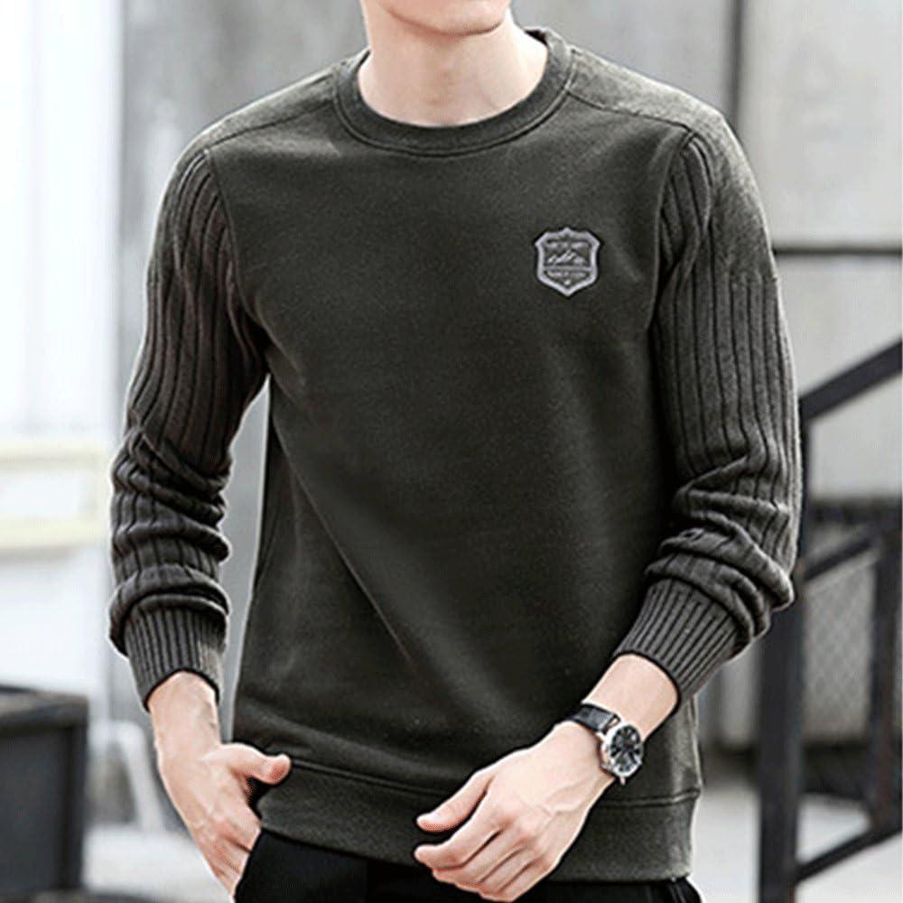 HIENAJ Mens Thick Fleece Lined Sweatshirt Crew Neck Long Sleeve Stitching Winter Shirt