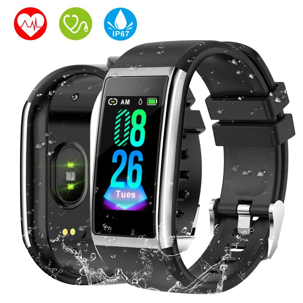 HOLALEI Pulsera Actividad Inteligente, Pulsera Inteligente con Medición de Presión Arterial y Monitor Ritmo Cardíaco, Pantalla a Color LCD HD de 1.14 ...
