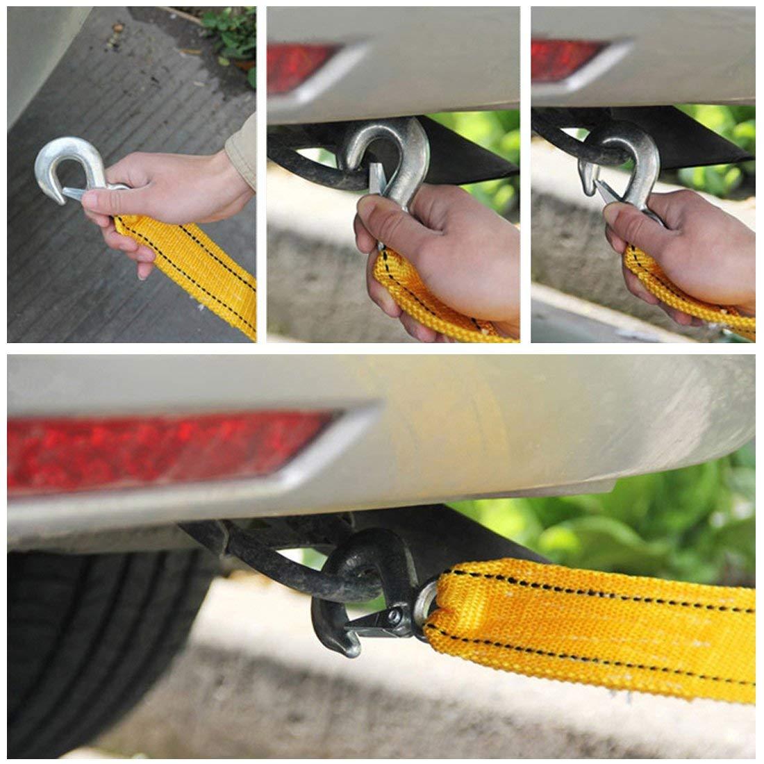 2inch x 13feet LSHCX Heavy Duty 6600 LB Capacity Tow Strap with Two Safety Hooks