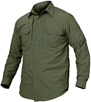 TACVASEN Camisa de manga larga con botones para hombre de secado rápido, protección UV, para uso casual y al aire libre, Hombre, color Verde militar, tamaño xx-large: Amazon.es: Ropa y accesorios