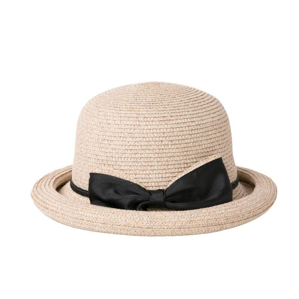 CFHJN-hat Home Frauen Hut Curling Sun Hut Urlaub Strand Hut Sommer Ferien Reine Farbe Bogen Strand Hut