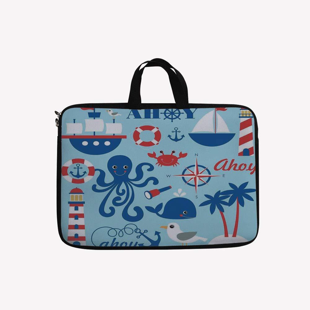 8bb51a499b0f Amazon.com: 3D Printed Double Zipper Laptop Bag,Sea Objects ...