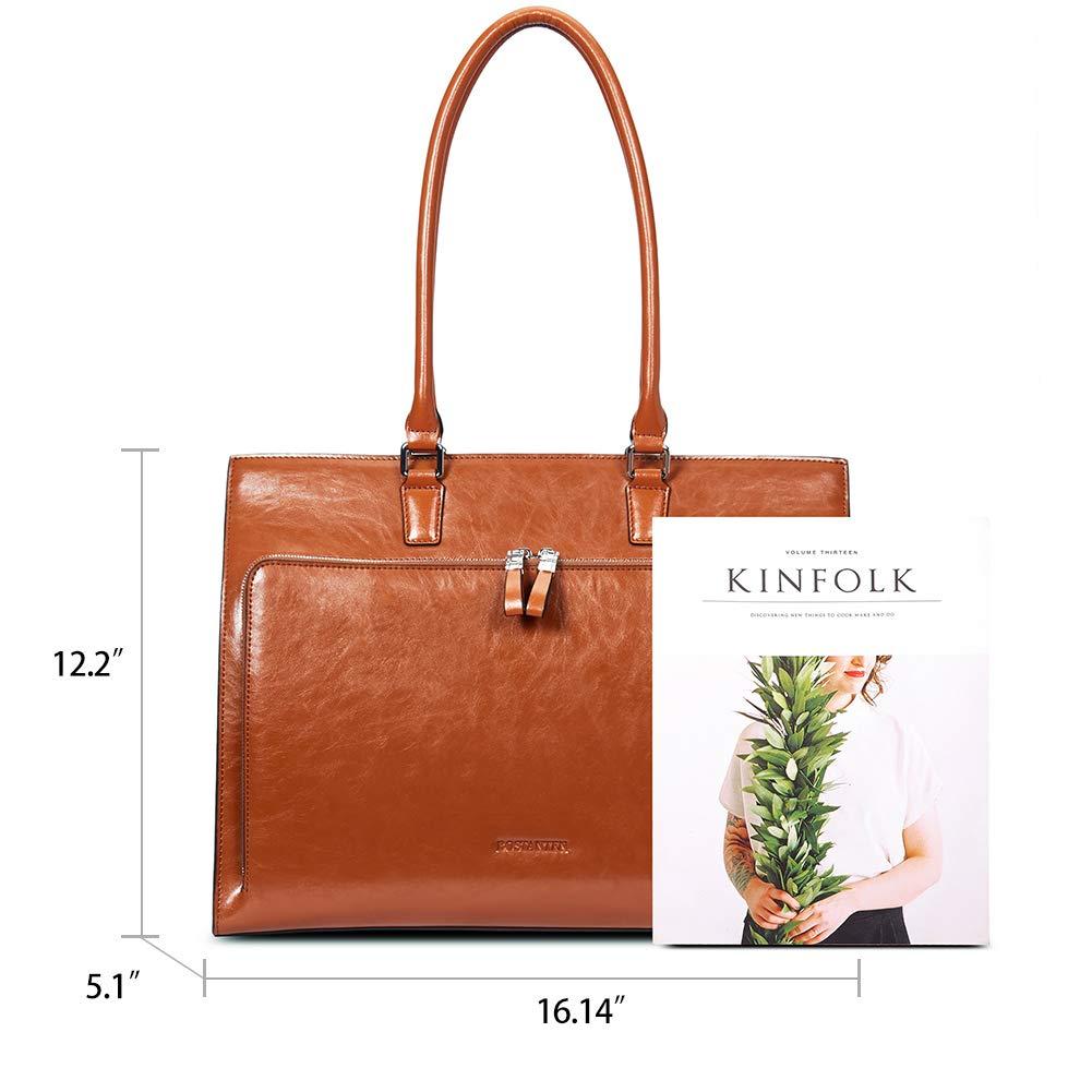 BOSTANTEN Women Leather Briefcase Vintage Shoulder 15.6'' Laptop Tote Handbags Brown by BOSTANTEN (Image #5)
