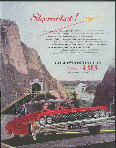 Skyrocket! A fiery new class of cars Oldsmobile Super 88 ad 1961