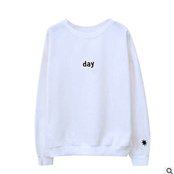 LOKOUO Letters Day&Night Embroidered Sweatshirt Women Long Sleeve Hoodie Loose Sweatshirts at Amazon Womens Clothing store: