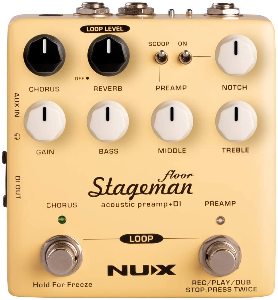 NUX Stageman Floor Acoustic Preamp/DI Pedal with Chorus, Reverb,Freeze and 60 seconds Loop for Acoustic Guitar