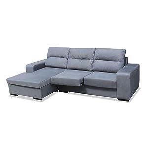 Mueble Sofa puf Chaiselongue Extensible, Sofá tres plazas color Marengo, A DOMICILIO ref-103