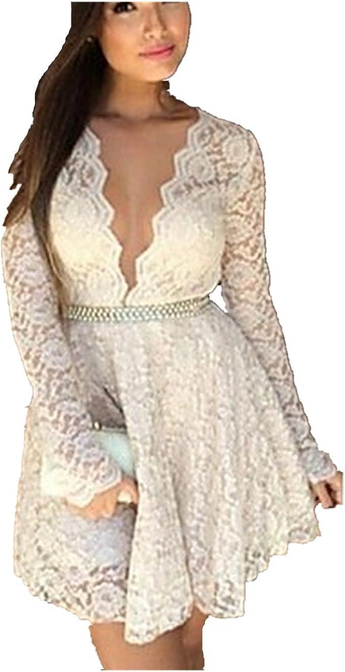 Fanessy Frauen Solid/Spitze-weißes Kleid, reizvolle Tiefe V