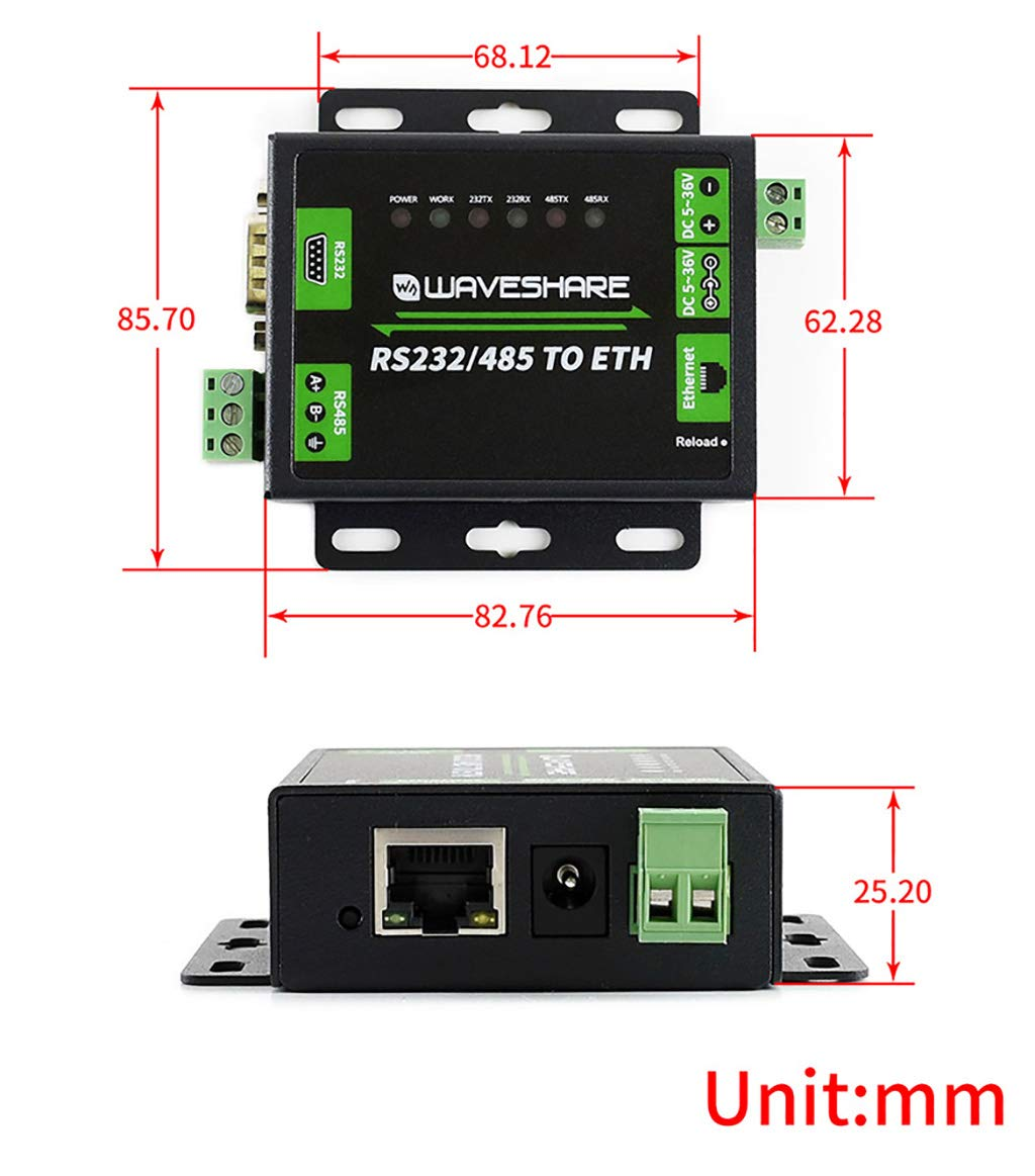 TCP Client HTTPD Waveshare RS485 to Ethernet Converter Supports Customized Heartbeat//Registration Packets,Webpage,RFC2217-like Protocol Available Client Modes TCP Server UDP Server UDP Client