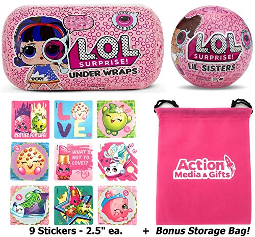 LOL Surprise Dolls Gift Bundle Includes (1) Innovation Series 4 Under Wraps + (1) Eye Spy Lil Sister + 9 Shopkins Stickers with Compatible Toy Storage Bag!