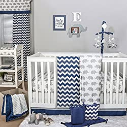 Navy Chevron and Grey Elephant Boy's 5 Piece Baby Crib Bedding Set by The Peanut Shell