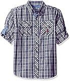 Image of U.S. Polo Assn. Boys' Little Boys' Long Sleeve Plaid Two Chest Pockets Sport Shirt, Rg White, 7
