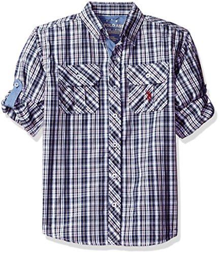 U.S. Polo Assn Boys Long Sleeve Plaid Two Pleated Pocket Sport Shirt