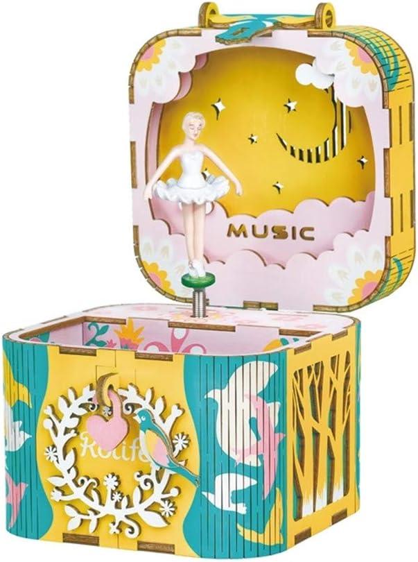 TTXLY 3D Puzzle de Madera Robotime DIY Bailando Bailarina de Madera giratoria de Plata Caja de Dinero casa Hecha a Mano decoración joyería Regalos para niños Chica Amiga