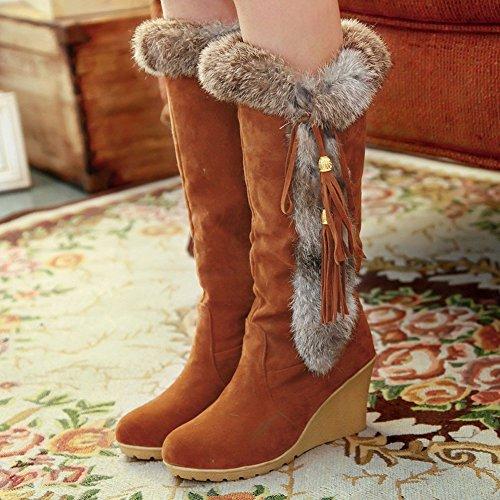 Bigtree Comodo Marrone Donna Inverno Zeppa A Caldo Di Metà Polpaccio Coniglio Stivali Pelliccia Neve Nappa 6Eq4xOx