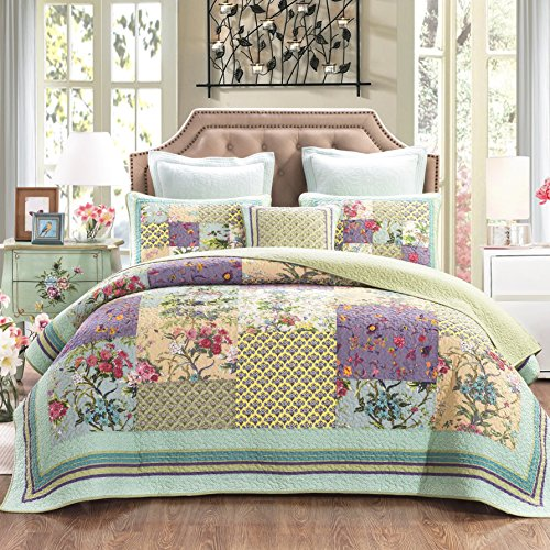 DaDa Bedding Frosted Pastel Gardenia Bohemian Reversible Cotton Real Patchwork Quilted Coverlet Bedspread Set - Bright Vibrant Floral Paisley Colorful Blue Lavender Green Print - Queen - 3-Pieces