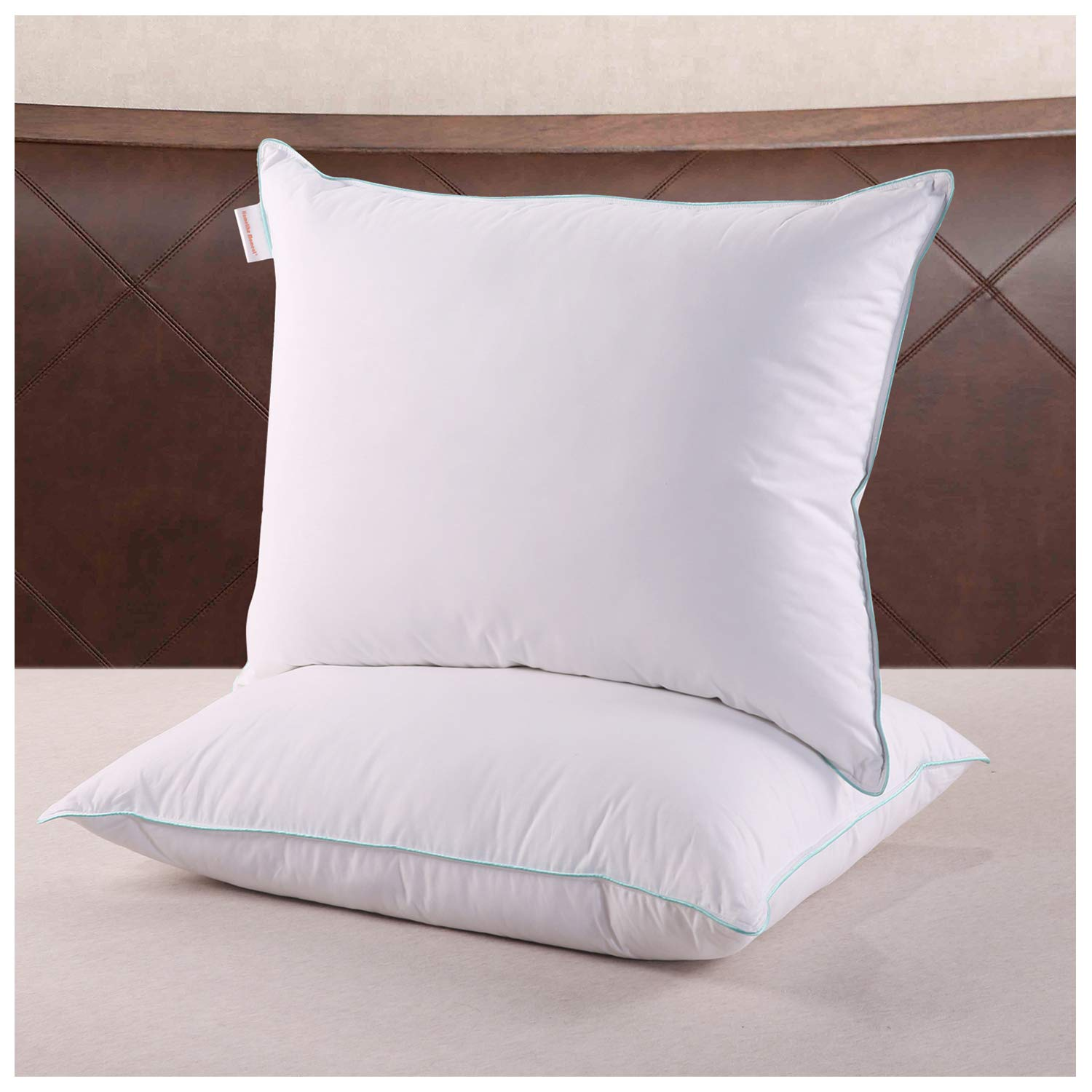 Homelike Moment Feather Down Pillows for Sleeping - 2 Pack Feather Bed Pillow King Size Pillows Set of 2 100% Cotton Fabirc 20x36 Inch